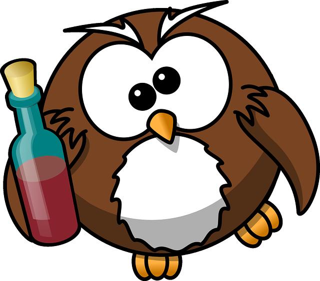 owl with wine