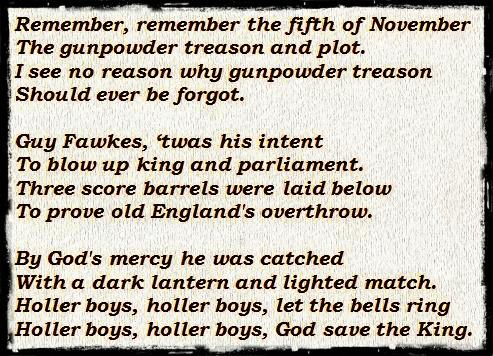 Guy Fawkes, gunpowder plot, nursery rhyme, poem
