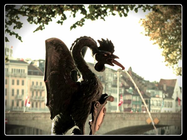 basilisk fountain, basel switzerland