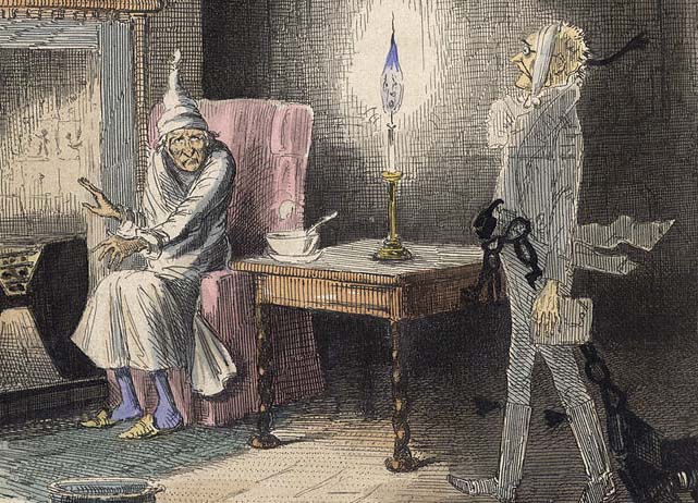 Christmas Carol Scrooge and ghost